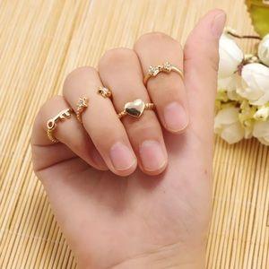 6pcs Gold Heart Star Knuckle Midi Rings